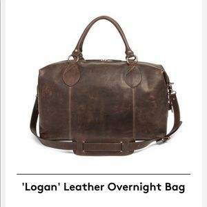 NWT Frye Logan Leather Overnight Bag - Slate